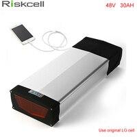 לשאת אחורי אופני דואר 48 v סוללת ליתיום יון 48 v 30ah סוללה עבור 1000 w 48 v אופניים חשמליים סוללה עם יציאת USB להשתמש סלולרי LG 18650