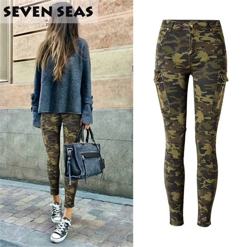 Skinny Jeans Woman Plus Size Camouflage Jeans Stretch Pencil Jean - Ropa de mujer