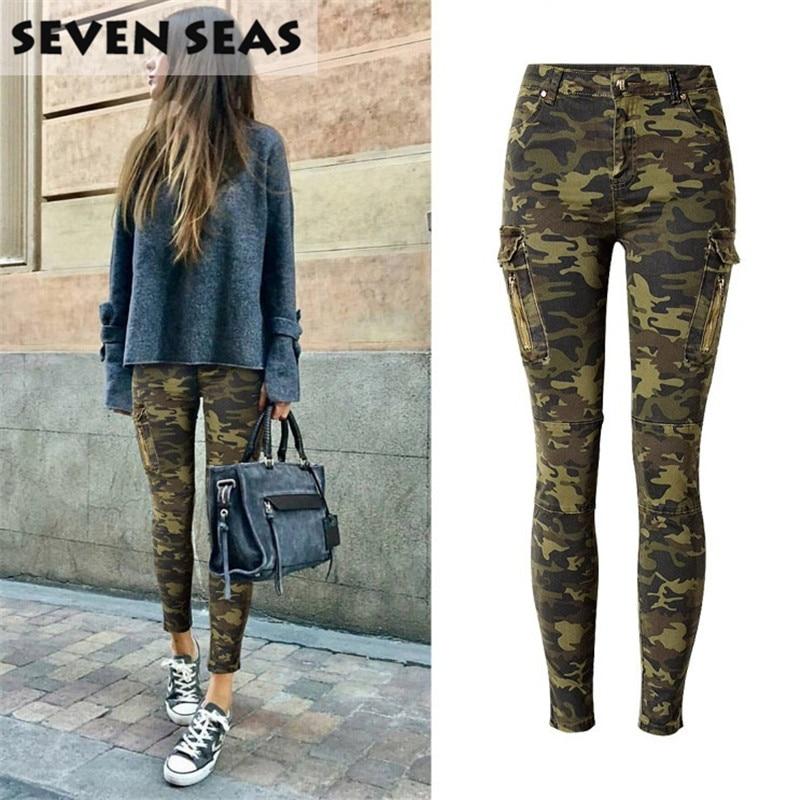 Skinny Jeans Woman Plus Size Camouflage Jeans Stretch Creion Jean - Îmbrăcăminte femei