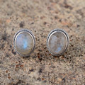 Moon Stone Stud Earring 925 Sterling Silver Earrings for Women Round earings S925 Silver boucle d'oreille