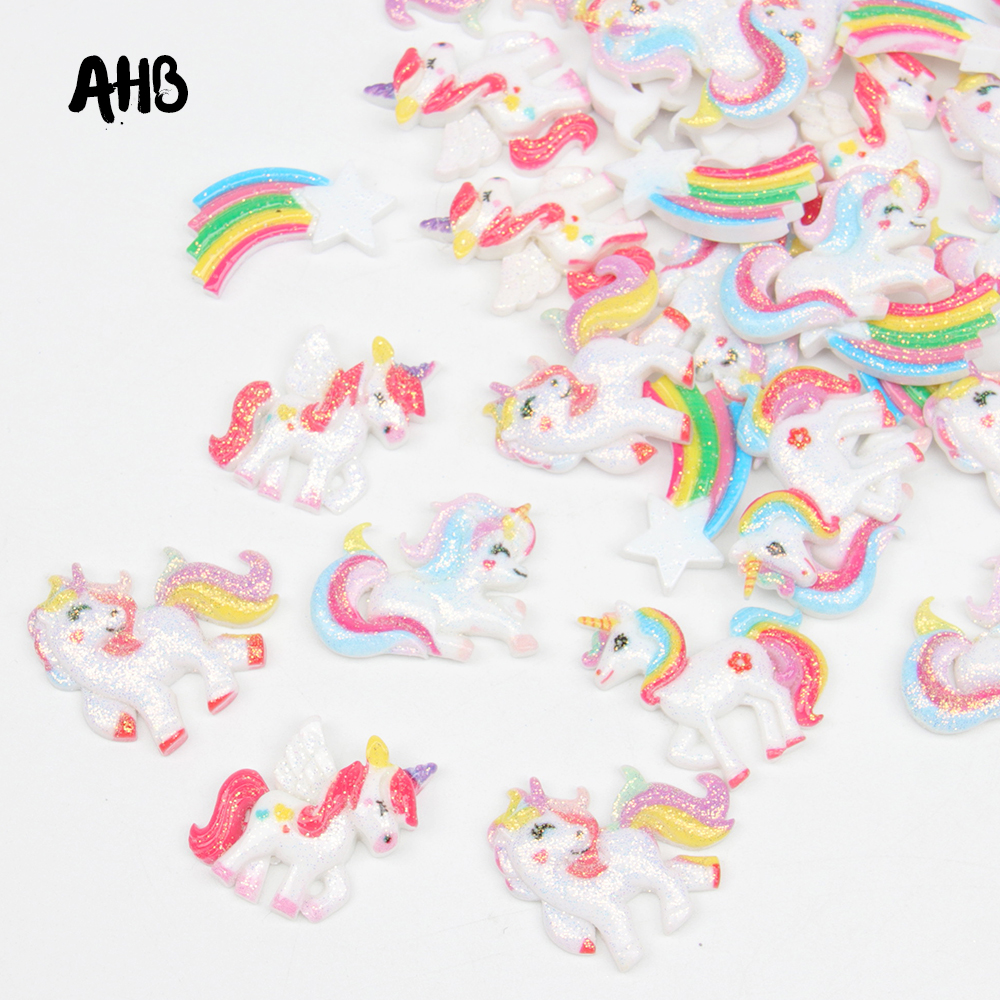 AHB Glitter Resin Unicorn Patches Planar Rainbow Accessories For Crafts DIY Hair Bow Ornament Shiny Materials 10pcs/bag