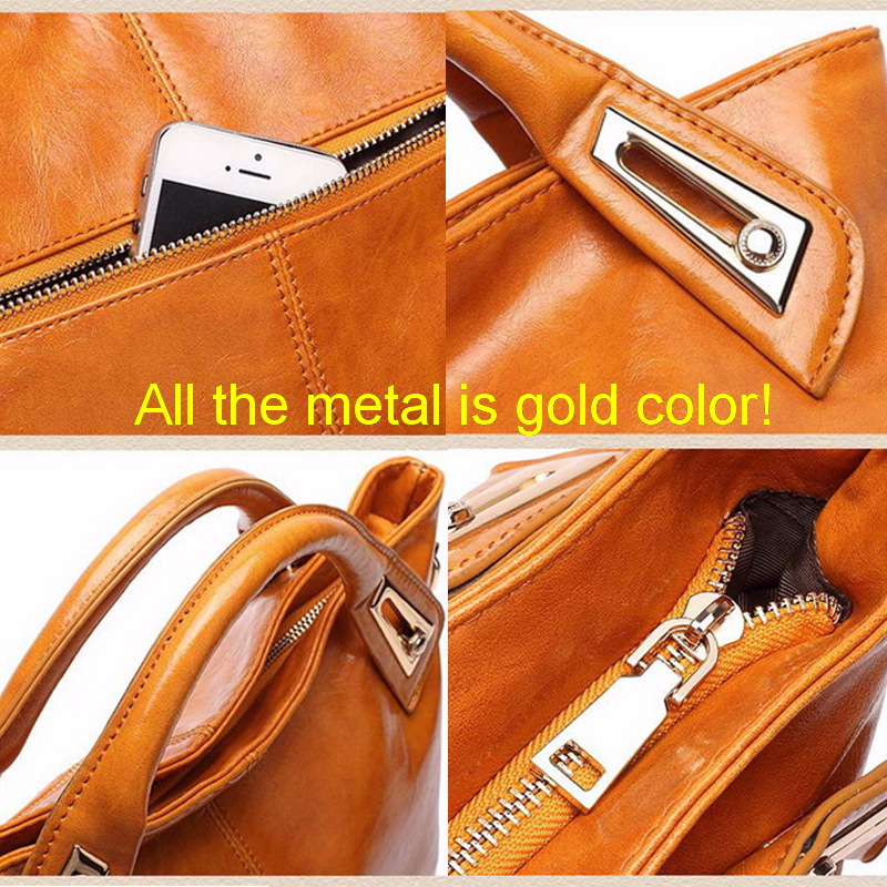 Image 4 - Women Oil Wax Leather Designer Handbags High Quality Shoulder Bags Ladies Handbags Fashion brand PU leather women bags WLHB1398bag tennisbag picnicbag clutch -