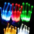 Par de Luvas Coloridas LED Rave Luz Dedo de Iluminação Piscando Luvas esqueleto Unisex Luva