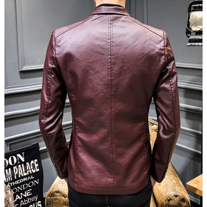 Image 5 - 2020 New Leather Jacket Streetwear Fashion Mens Leather Suit Jacket Clothes Casual Slim Fit Button Yellow Blue PU Blazer Coats
