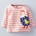 retail fashion autumn children t shirts boy clothes long sleeve boys t shirt New 2016 Baby T-Shirts rooster pink striped design
