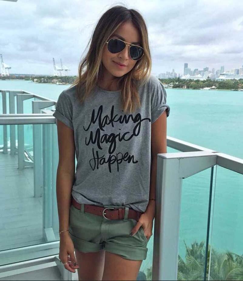 Новинка 2017, женская летняя футболка с принтом волшебных букв, модная свободная футболка с круглым вырезом и короткими рукавами, Femme