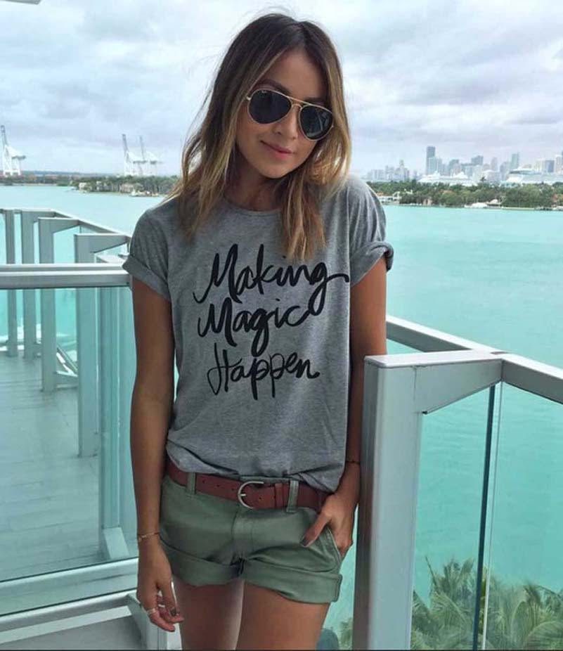 Women T-shirt Printed Magic Letters Fashion O-Neck Short Sleeve Loose Tee Shirt 7