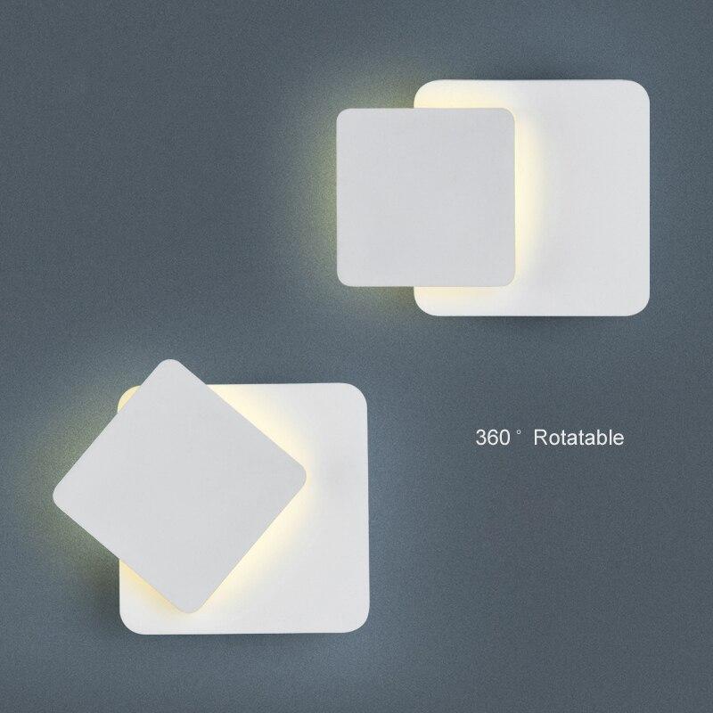 Appliques pour chambre salon carré blanc noir corps AC90-260V lampe de mur led d'intérieur rotatif métal argent 5 W led applique