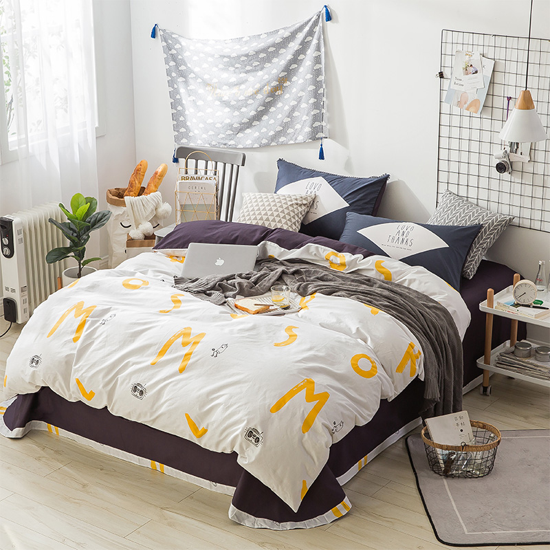 Stylish Yellow Letters Pattern 100% Cotton 4Pc Bedding Sets Duvet Cover Set Winter Bed Sheet Pillowcase Queen King Size BedlinenStylish Yellow Letters Pattern 100% Cotton 4Pc Bedding Sets Duvet Cover Set Winter Bed Sheet Pillowcase Queen King Size Bedlinen