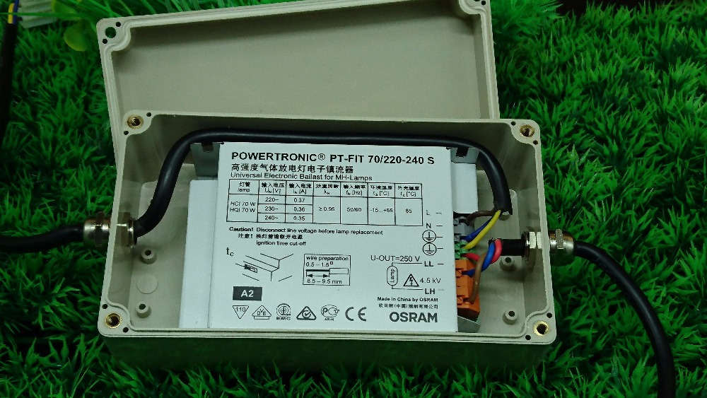 ФОТО 70W OSRAM Ballast With Waterproof box for HID lamp Powertronic PT-FIT 70/220-240E Electronic Ballast for MH-lamps free shipping