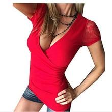 Sexy letní dámské tričko s hlubokým výstřihem a krajkovým rukávem