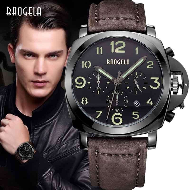 2018 BAOGELA Moda Hombre Deportes Impermeable Relojes Correa de Cuero - Relojes para hombres - foto 1