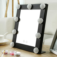 2018 New Table Single LED Model Portable Makeup Mirror Illuminated Cosmetic Vanity Mirror With Bulbs Import Glass Double Lights