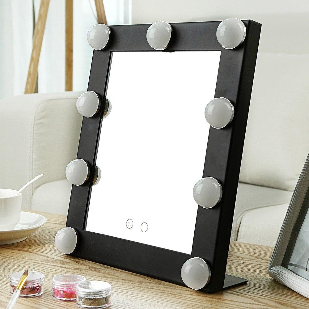 2018 Nouvelle Table Unique LED Modèle Portable Maquillage Miroir Lumineux Cosmétique Vanity Miroir Avec Ampoules D'importation Verre Double Lumières