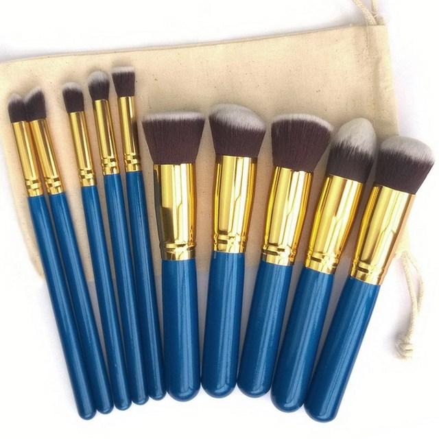 Venda quente 100% de alta qualidade 10 Pcs pincéis de maquiagem profissional Set Make Up Tools madeira cosméticos escova