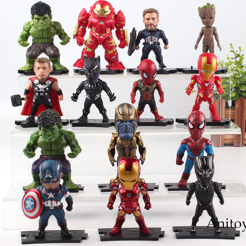 Avengers Marvel Action Figures Iron Man Thanos Captain America Hulk Hulkbuster Tree Man Thor Black Panther Spiderman Figure Toys marvel avengers statues ironman ant man thanos black panther action figure home decoration gift ant man antman iron man statue