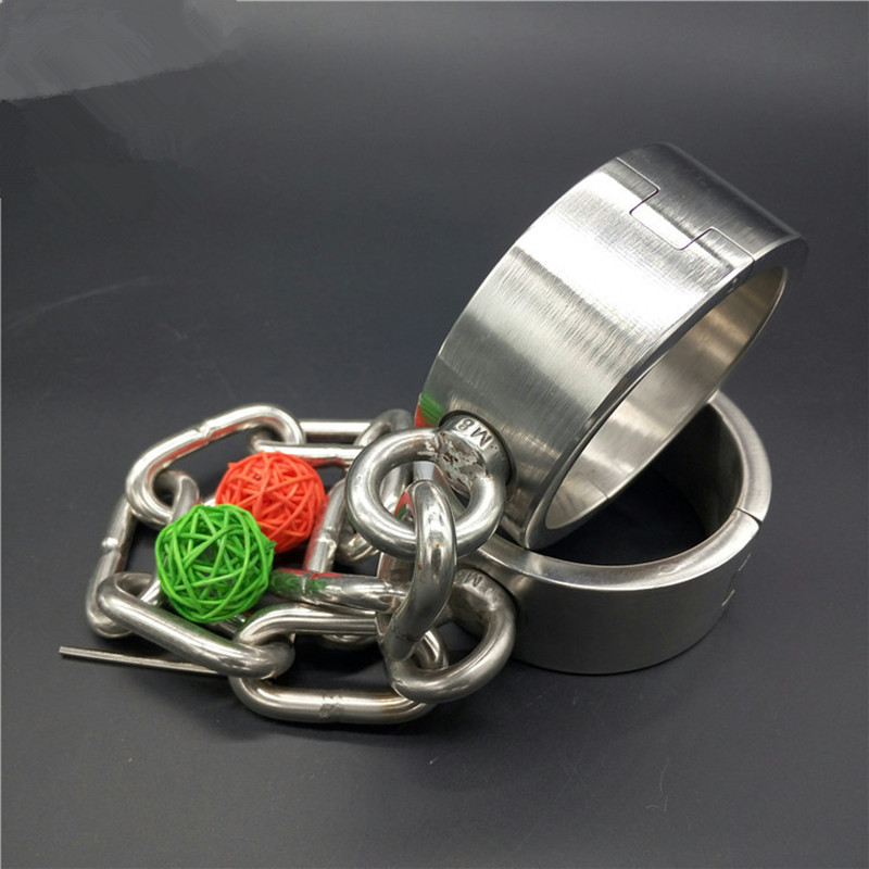 1.8kg Heavy Stainless Steel Bondage Shackles Legcuffs Oval Foot Cuffs Metal Bondage Restraints Sex Toy for Male and Female G6-21