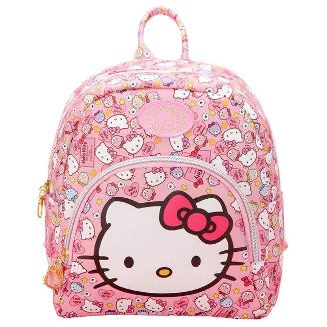 3ad9a08266b6 Fashion PU Cartoon Pink Hello Kitty Backpacks Cute Cat bagpack Small Bags  mochila Children Schoolbag Gifts For Girls Kids women