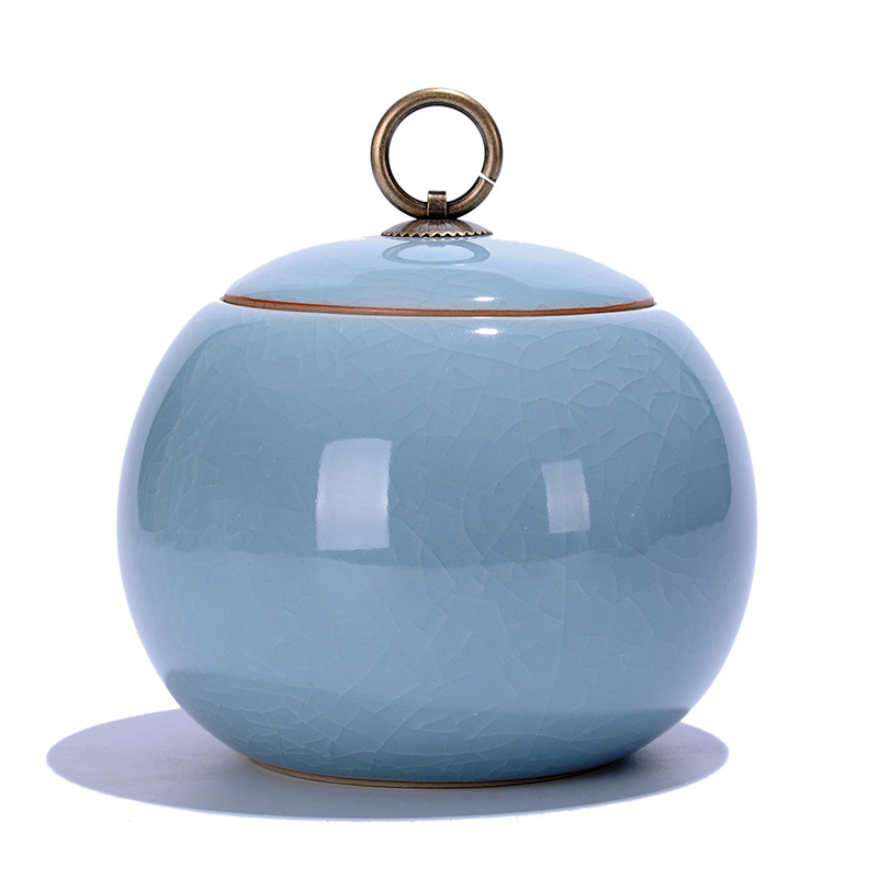 Ceramic Food Box With Cover,Top Grade Crackle Glaze Longquan Celadon Ceramics Tea Caddy Tea Canister Tea Porcelain