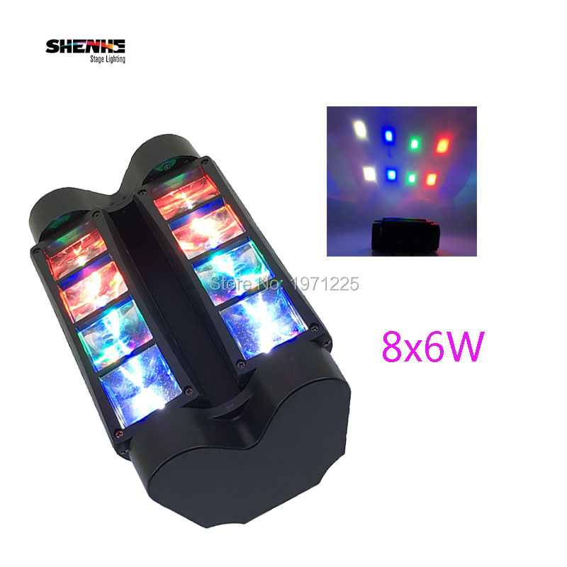 Mini LED Spider 8x6W RGBW Moving Head Light Strobe Stage Dj Disco Mini Spider Moving Head Light with 13/19 DMX Channels 9 moving head laser spider light green color 50mw 9 triangle spider moving head light laser dj light disco club event