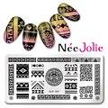 Nee Jolie Ногтей Штамп Шаблон Племенных Дизайн Прямоугольник  Изображения Плиты NJX-007 12*6 см