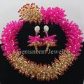 Fuchsia Pink Gold Nigerian Wedding African Beads Jewelry Set Crystal Beads Cluster Christmas Jewelry Set Free Shipping WA125