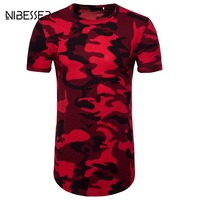 NIBESSER Brand Red Camouflage T Shirts Men Short Sleeve Long Tee Shirts Fitness Top Hiphop Summer