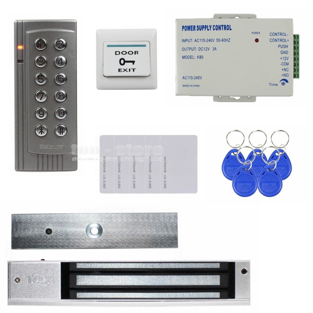 DIYSECUR RFID 125KHz Reader Password Keypad Access Control System Security Kit + Electric Magnetic Door Lock K4 diysecur 280kg magnetic lock 125khz rfid password keypad access control system security kit exit button k2