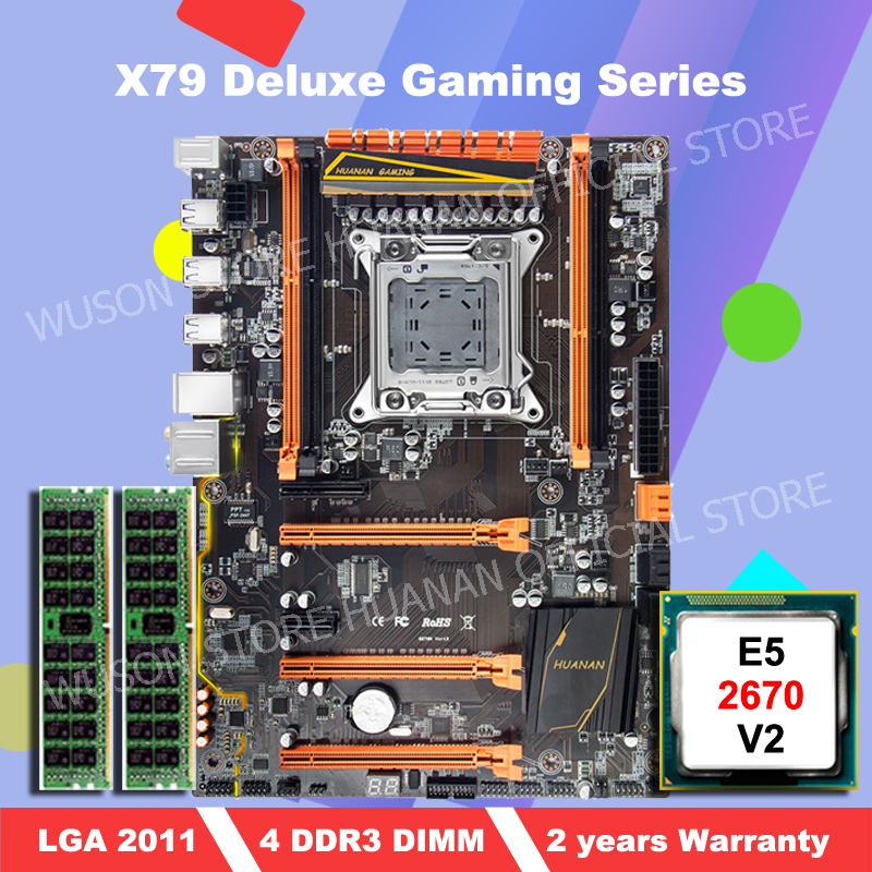 HOT SALE!!!HUANAN deluxe X79 motherboard with <font><b>Xeon</b></font> <font><b>E5</b></font> <font><b>2670</b></font> <font><b>V2</b></font> CPU and 16G(2*8G) DDR3 RECC RAM all be tested before shipping image