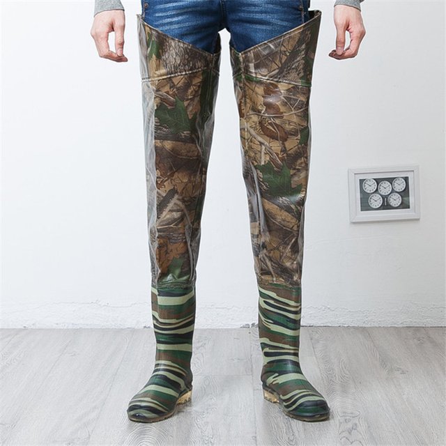 High-Jump 80cm Tactical Hunting Fishing Waders Boots Camouflage Inside Cotton Warm Waterproof Fish Sole Boots Waders for Fishing