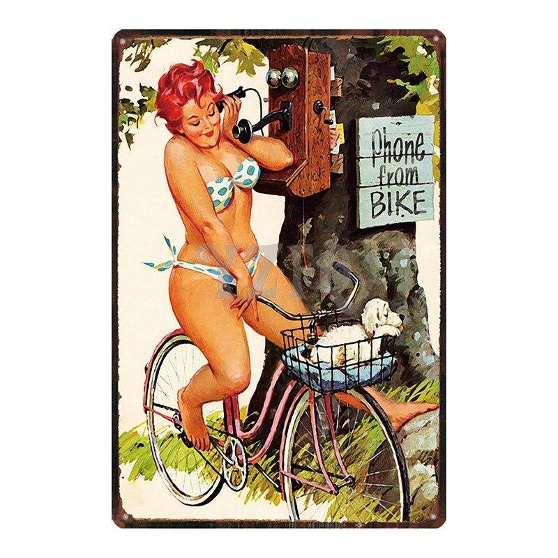 Hilda de talla grande pin up Girl señal Metal lata placa Metal pared vintage Pub cafetería tienda hogar arte decoración Iron Poster Cuadros DU-2643 BOTIMI, luces de techo LED de diseñador nórdico con pantallas de lámparas de Metal redondas blancas, decoración artística gris, lámparas de dormitorio montadas en el techo