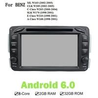 Android 6.0.1 Car GPS Player Cho Benz ML W163 CLK W209 C-Class W203 SLK W170 E-Class W210 A-Class W168 Stereo GPS Navi đài phát thanh