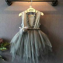 2017 Girls Dress Kids Vintage Gray Sleeveless Tulle Kids Party Dress 2-7