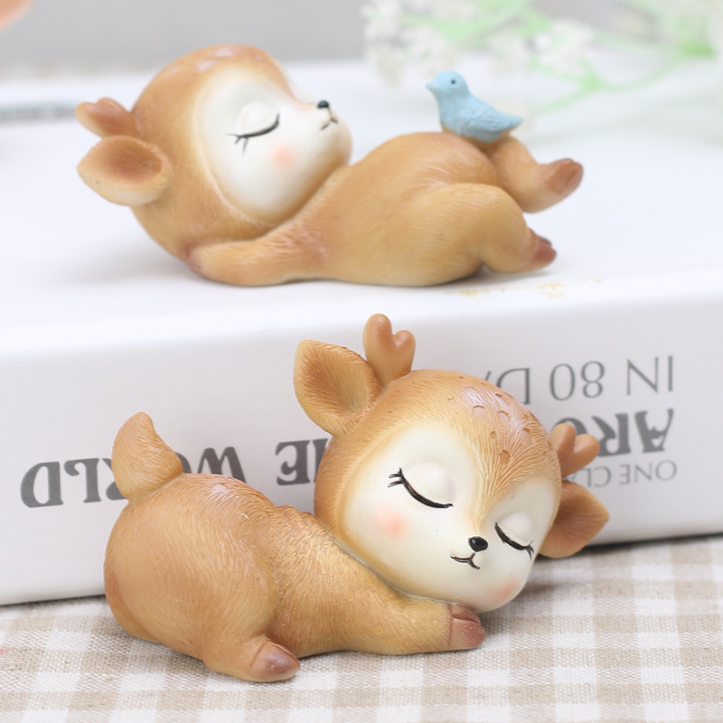 Sleeping Deer Baby  Creative Cartoon Resin Craft Small Ornaments Kid Toy Mini Toys For Girls And Boy