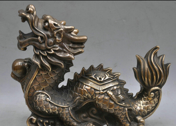 xd 002383 8' China Bronze Animal Zodiac Dragon Beast Beads show Sculpture Statue