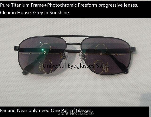 40e310d78ad5 Pure titanium glasses frame+photochromic freeform progressive lenses   photochromic multi-focal presbyopia sunglasses