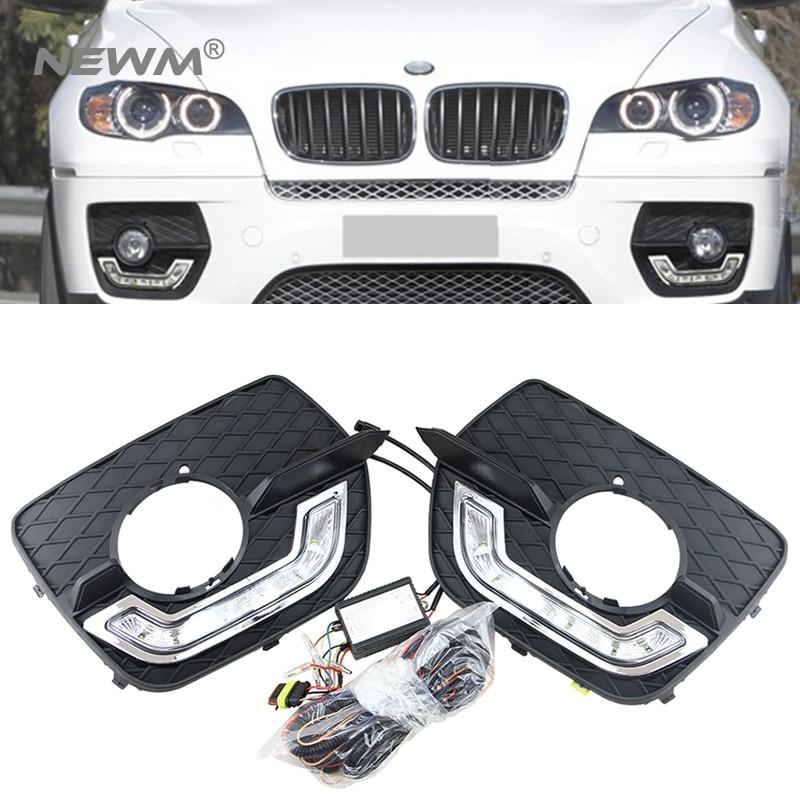 2 pieces For BMW E71 X6 SUV 2008 2009 2010 2011 2012 2013 2014 M-sport Led Daytime Running Light For Led DRL Fog Lamp 2009 2011 year golf 6 led daytime running light
