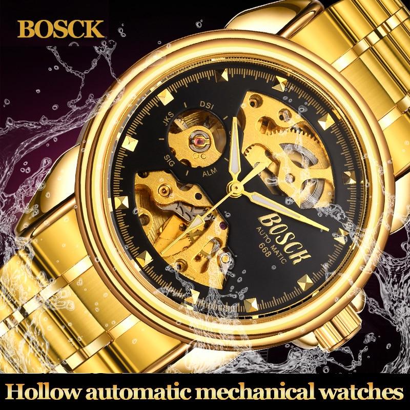 BOSCK 3D oyma skeleti Paslanmayan polad qayış şəffaf iş içi boş qızıl qızıl kişilər saatları ən yaxşı marka lüks avtomat mexaniki