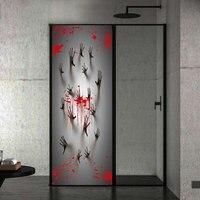 Bloody Handprints Halloween Theme Door Sticker 3D Bedroom Living Room Door Poster Mural PVC Self adhesive Home Decor Decal