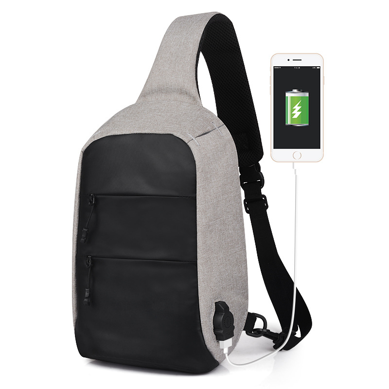 PVC Chest Bag Men Oxford Crossbody Shoulder Strap pack USB Charging Messenger for Short Trip Reflective Water Repellent XA114WC