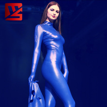 Leotard Bodysuit Latex Open-Crotch Cosplay Zipper Shiny Full-Body Wear Moto with Mask