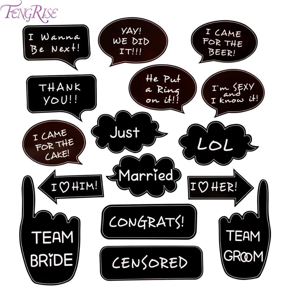 Fengrise Photo Booth Props Wedding Decoration Team Bride