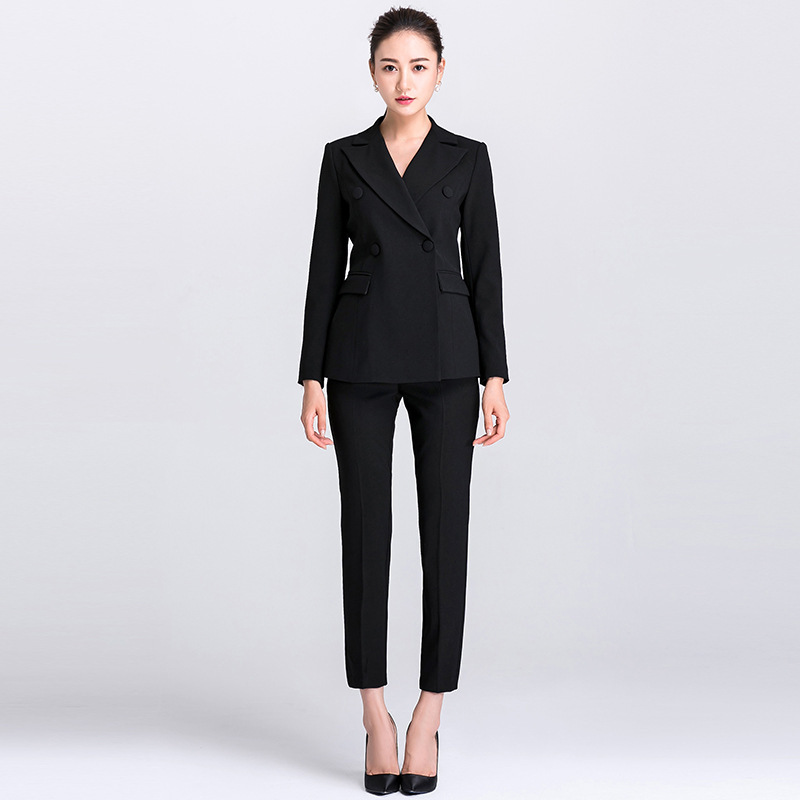 Business Suit Trouser Suit For Women Two Piece Set Ladies Office Uniform White Black Double Breasted High Quality Women Fashion