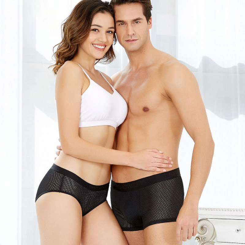 Summer Ice Silk Couple Underwear Black Sexy Panties Mesh Cool Mens Underwear Boxers Women Panties For Lover Underpants