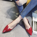 British Style Pointed Toe Shallow Mouth Shoes 2017 Spring Flat Heel Leather All-match Loafers