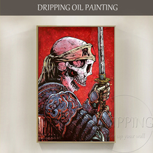Excellent Artist Hand-painted High Quality Special Warrior Oil Painting on Canvas Skeleton Portrait