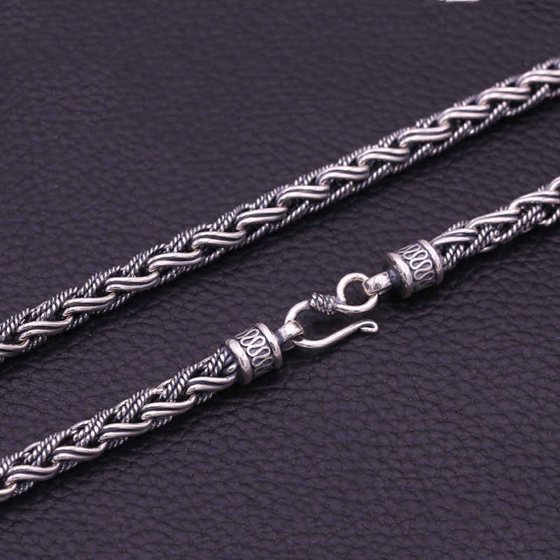 2b3108382475f8 FNJ 925 Silver Big Necklaces for Jewelry Making 7mm Weave Chain New Fashion  Original S925 Thai