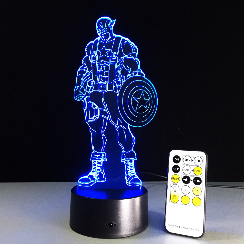 Captain America Color Changing 3D Led Light Visual Night Lights Avengers Acrylic USB Creative LED Lighting Lamp Captain America