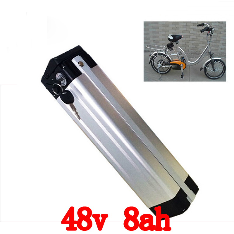 Bottom discharge 48V 700W Electric Bicycle Battery 48V 8AH Lithium ion battery with Aluminium Case 54.6V 2A charger and 15A BMS liitokala 18650 lithium battery 36v 8ah electric bicycle battery 500w with pvc housing for electric bicycle 42v 2a charger