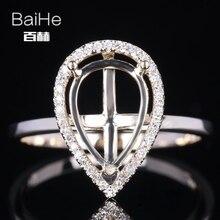 BAIHE Solid 14K Yellow Gold(AU585) Certified pear Cut Engagement Women Cute/Romantic Fine Jewelry Elegant unique Semi Mount Ring